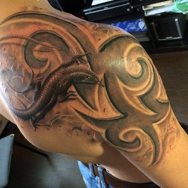 tatuaje lagarto para hombre 60